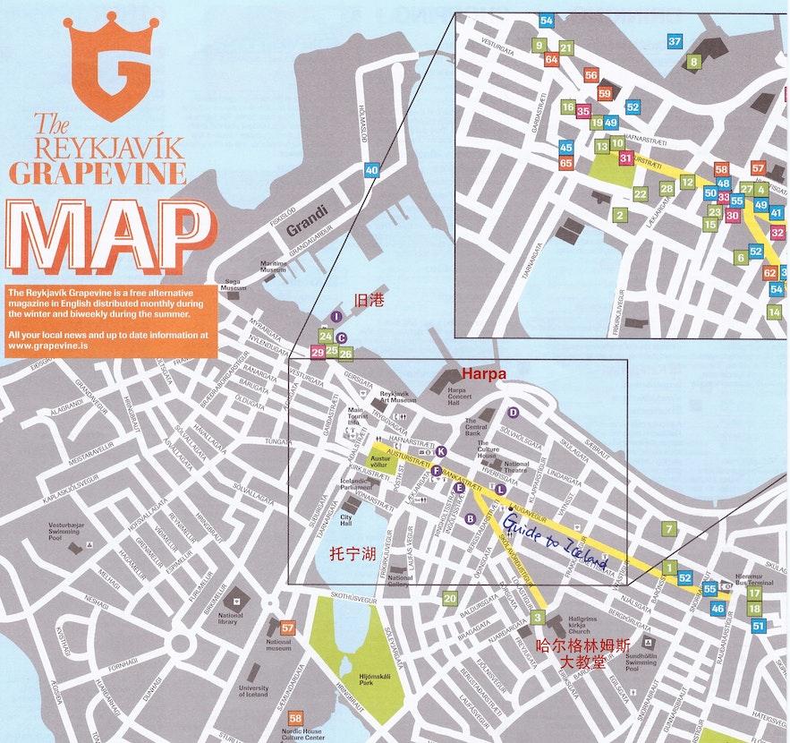 雷克雅未克市中心地图-购物区域-大教堂