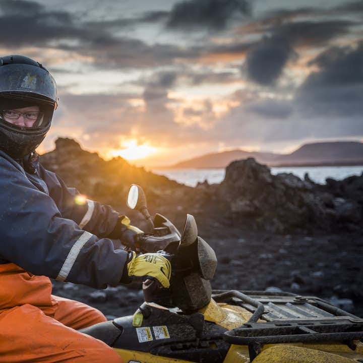 The midnight sun in Iceland provides incredible light for sightseeing from the back of an ATV.