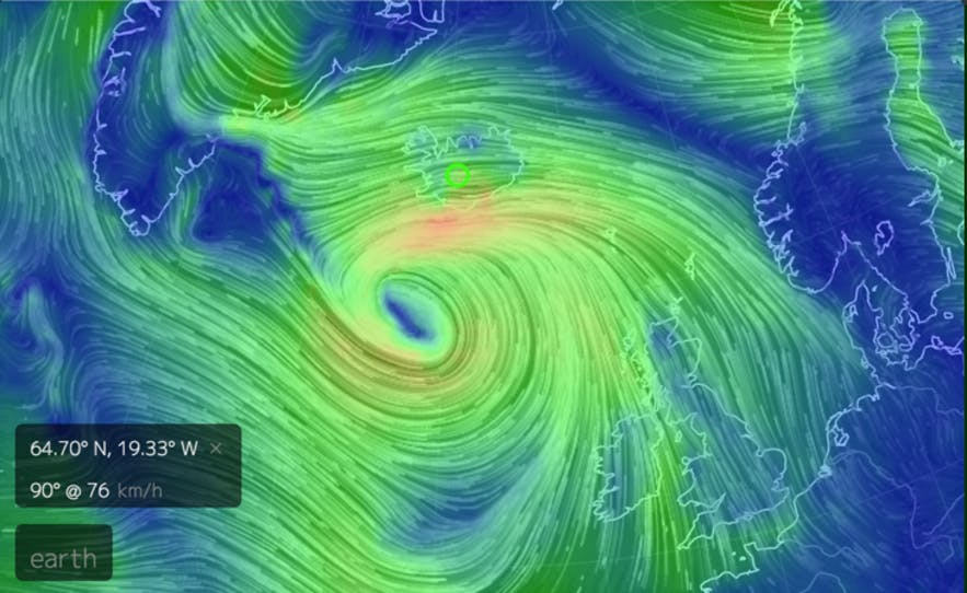 Weather map for storm in Iceland in December