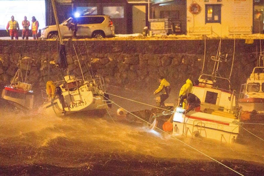 Reykjavík marina during the storm, photo credit MBL/Eggert