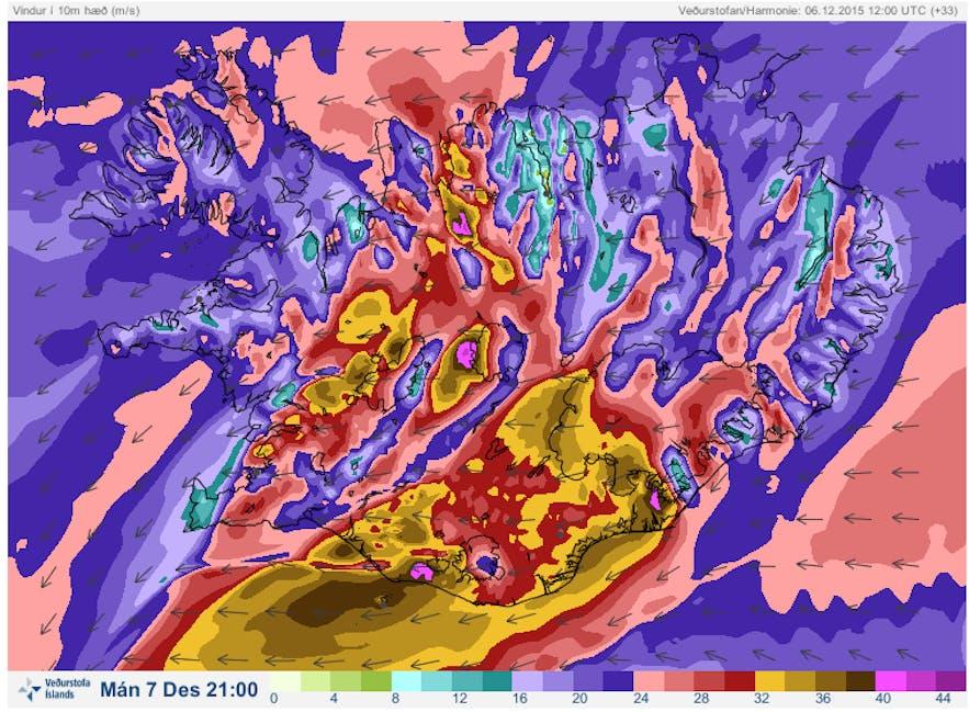 Icelandic storm weather forecast
