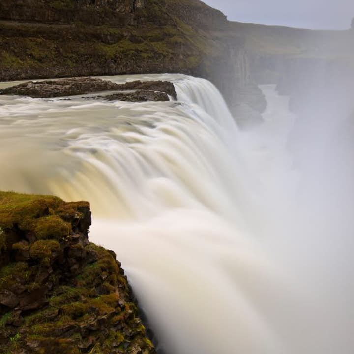 This spectacular image depicts the mighty force and enormous spray of the Golden Waterfall, otherwise known as Gullfoss.