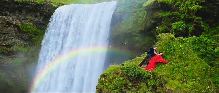 Dilwale by Skógafoss waterfall in Iceland