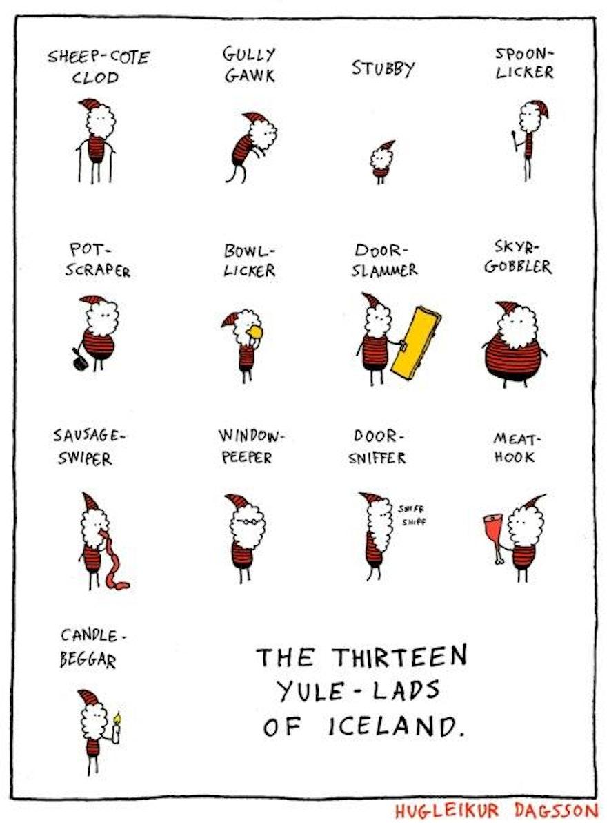 Impressie van de IJslandse kerstkereltjes door striptekenaar Hugleikur Dagsson