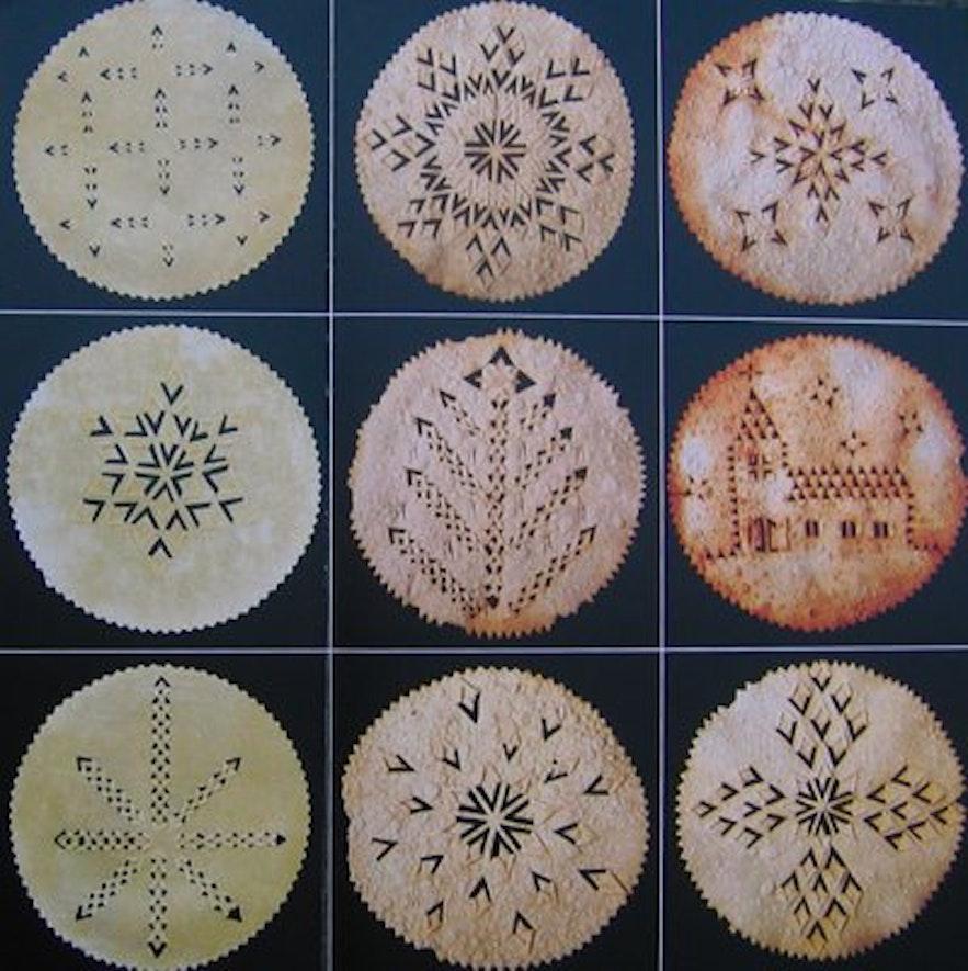 Islandske julemønstre i laufabrauð