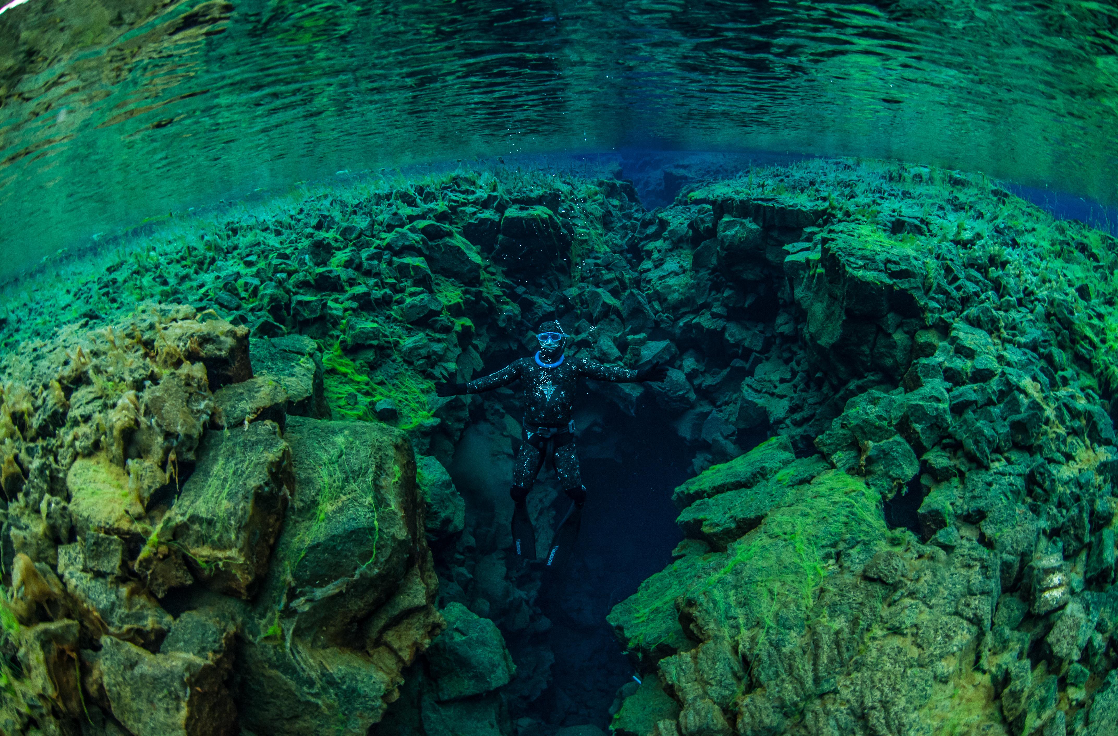 Freediven in de prachtige kloof Silfra.