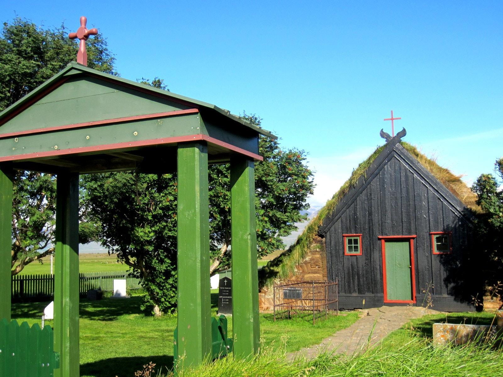 The beautiful Víðimýrarkirkja Turf Church in North-Iceland