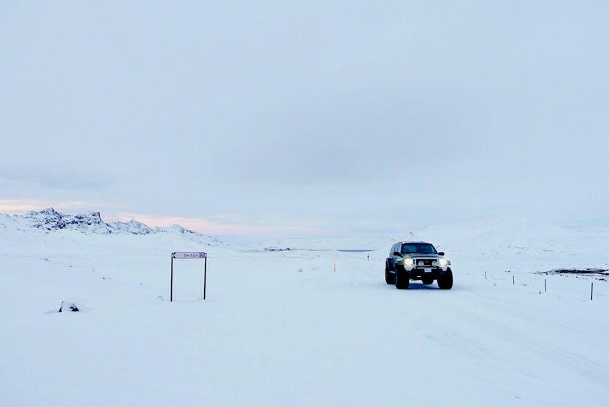 冰岛冬季路况路面