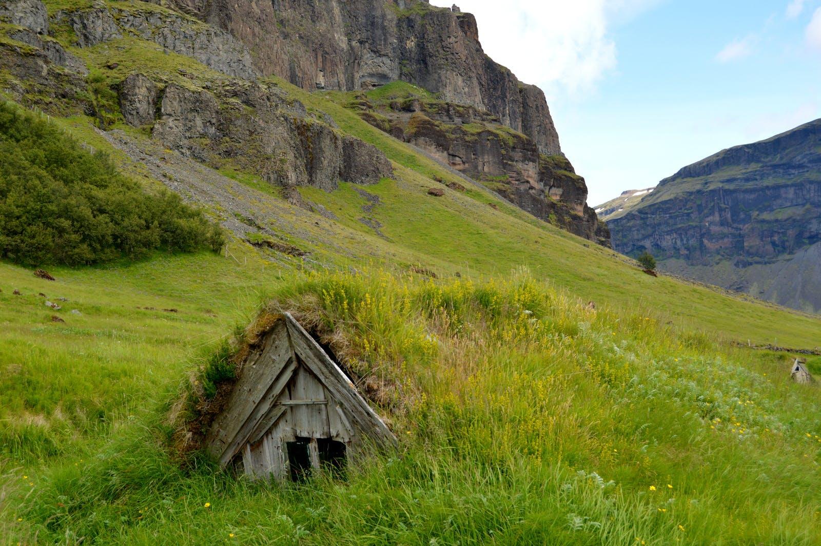 Núpsstaður Turf Church and Mt. Lómagnúpur in South-Iceland - the smallest Turf Church in Iceland