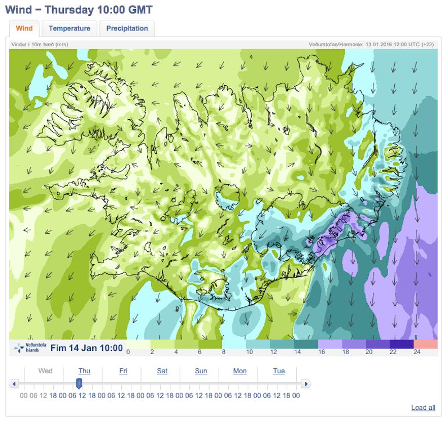 冰岛天气风速预报
