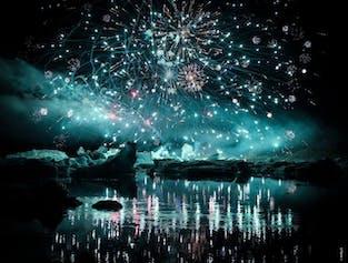 Feuerwerk über Jökulsárlón - 12. August 2017