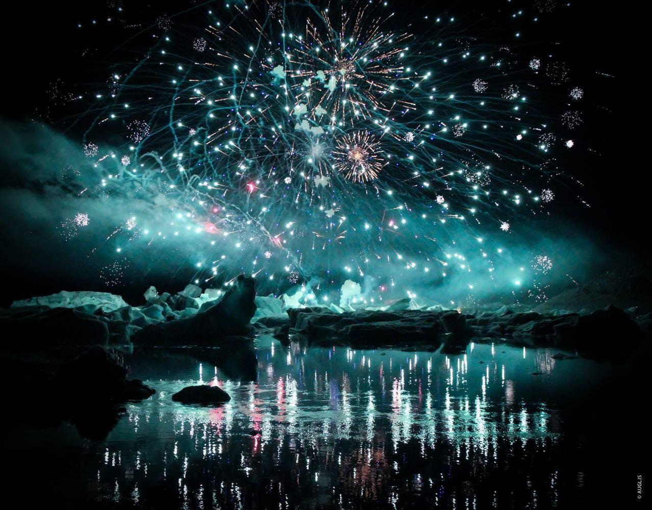 Fireworks show at Jökulsárlón - August 12, 2017