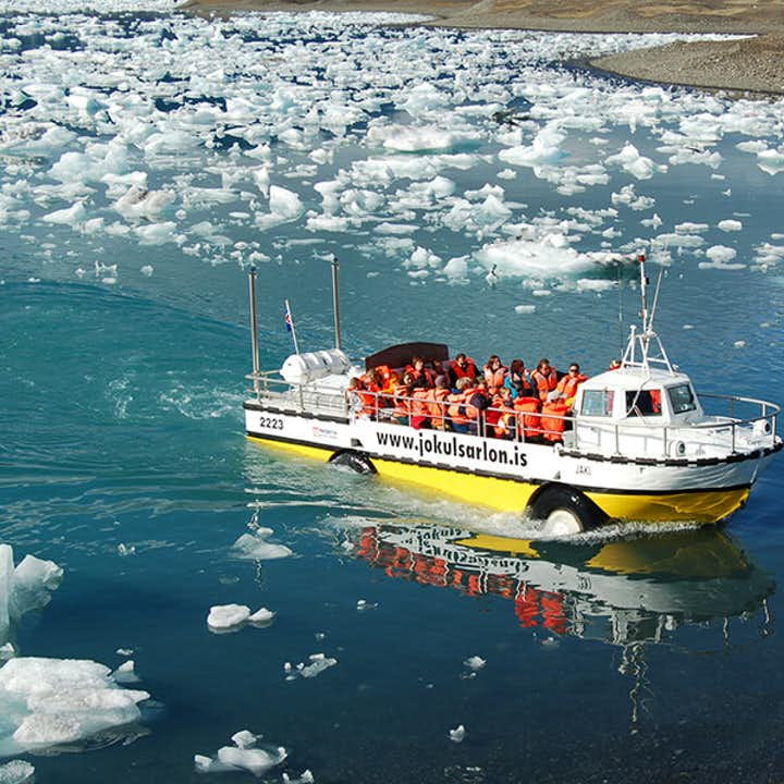 Tocht in amfibieboot over Jökulsárlón