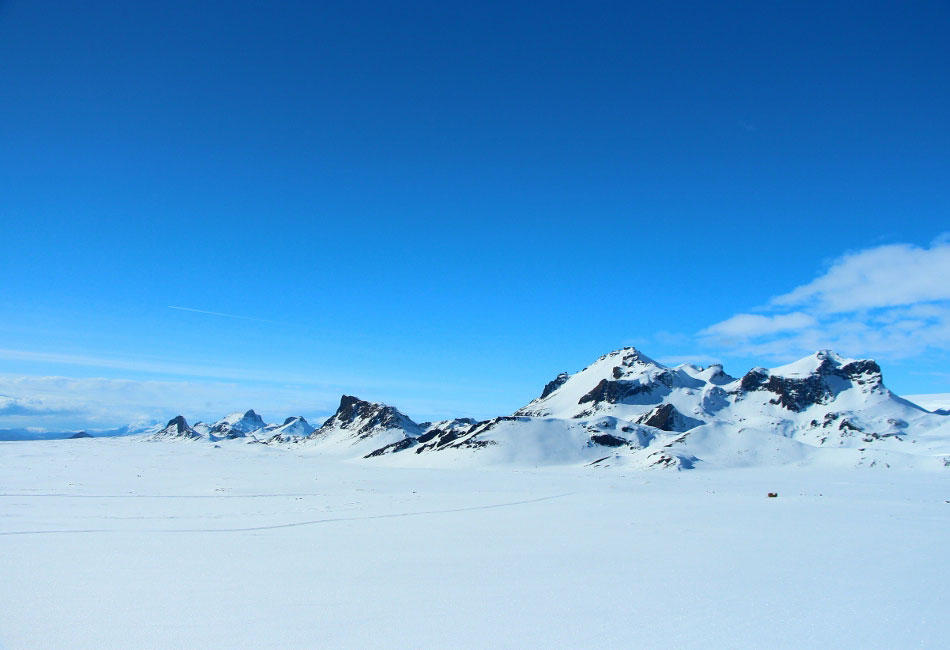 The views atop Langjökull Glacier are telling of the winter landscapes of Iceland.