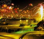 The entire capital of Iceland lights up for the New Years Eve festivities.