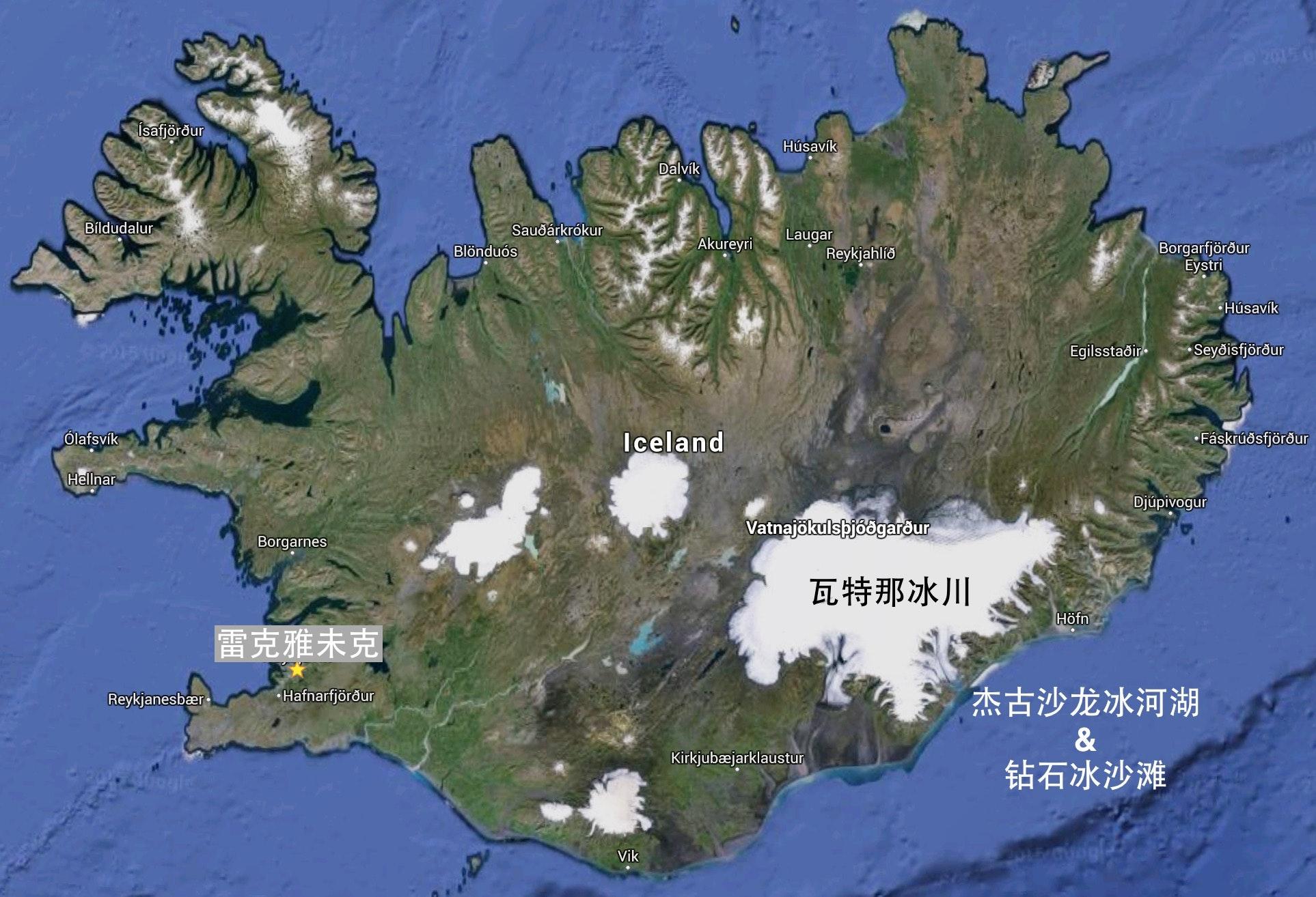 冰岛地图 瓦特那冰川