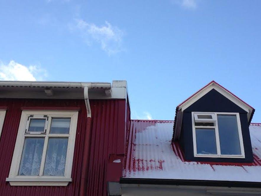 Snowy windows in Reykjavík
