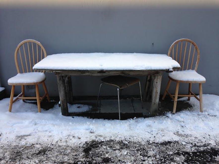 Snowy table in Reykjavík