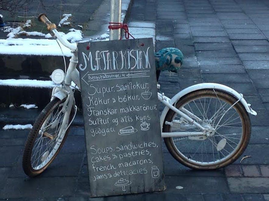 Winter signs for lovely homemade treats in Reykjavík