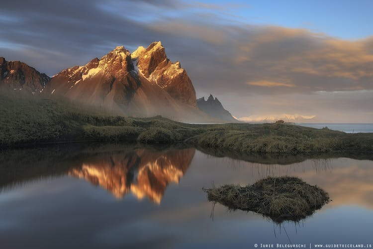 Mt. Vestrahorn is on the Stokknes peninsula in southeast Iceland.