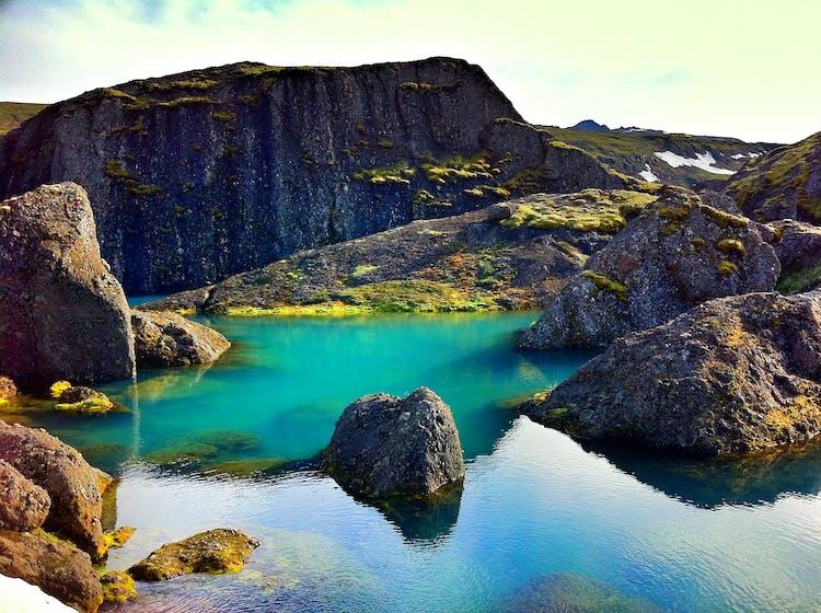 Stórurð is a popular hiking trail in the mountains by Borgarfjörður eystri.