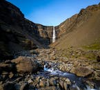 Hengifoss Waterfall in East Iceland during summer.