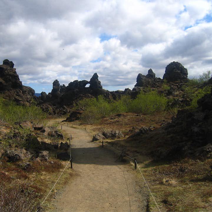 The Dimmuborgir lava fields are a marvel of geological wonder.