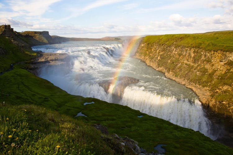 Gullfoss is a powerful waterfall found roughly an hour's drive away from Iceland's capital.