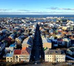The multi-coloured roofs of central Reykjavík are clearly visible from the tower of Hallgrímskirkja church.