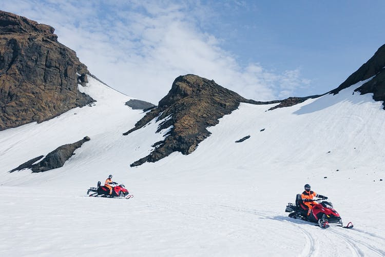 Maximise your glacier experience by snowmobiling across the snowy expanses of Langjökull glacier.