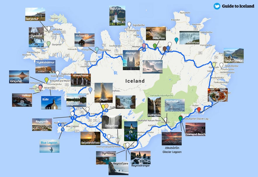 Mapa z najlepszymi islandzkimi atrakcjami