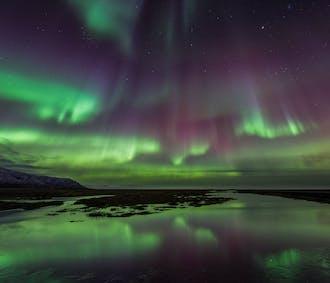 Aurores boréales depuis un bateau   Au large de la capitale islandaise