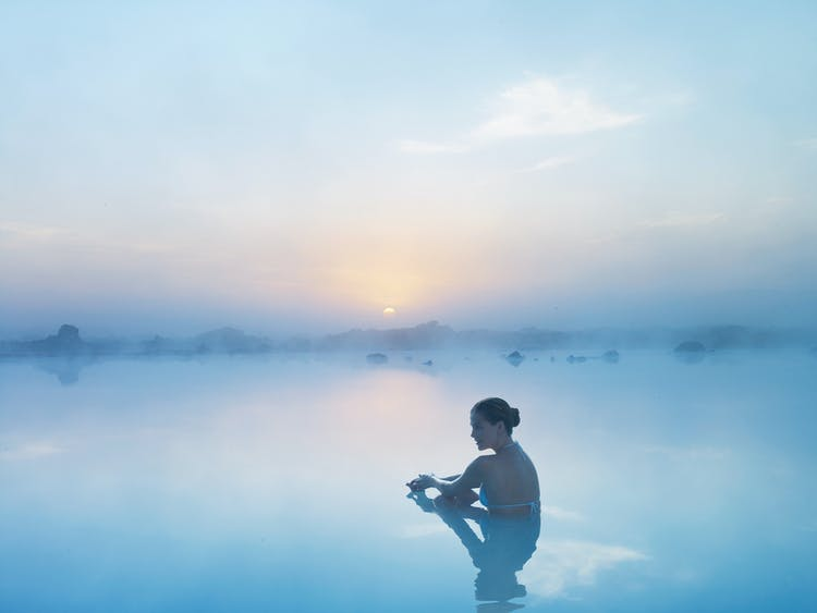After days of travelling, a relaxing soak in the geothermal waters of the Blue Lagoon is a welcomed activity