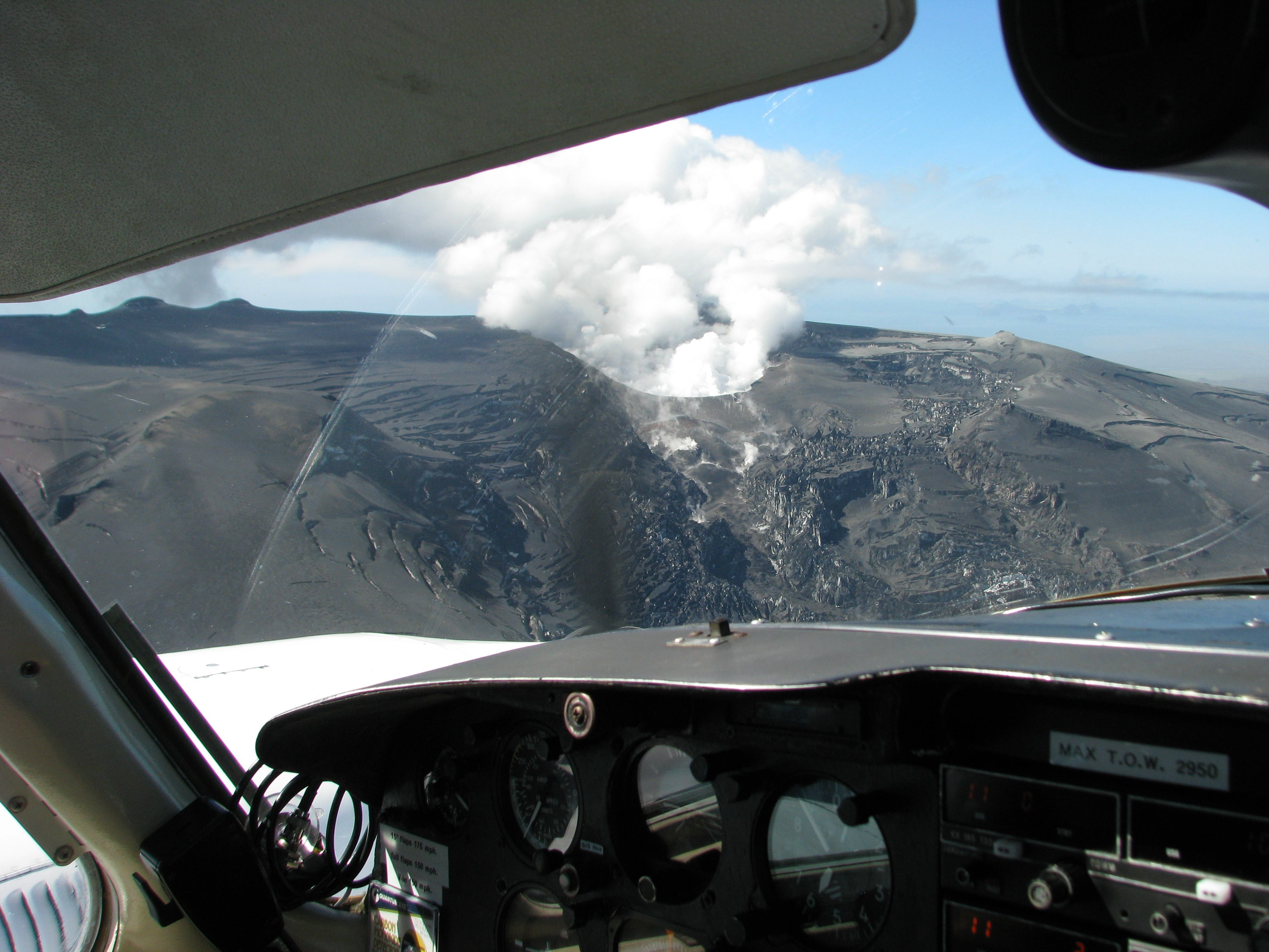 An extremely dramatic perspective from the cockpit of a sightseeing plane.