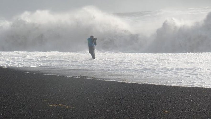 Tourist in danger at Reynisfjara beach. Picture by Ulrich Pittroff.