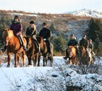 Winter horseback riding is a beautiful way to witness the snowy vistas of South Iceland.