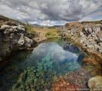 The crystal clear waters in Þingvellir's ravines originates from Langjökull glacier.
