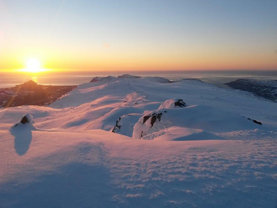 Drangajökull glacier at midnight in summertime