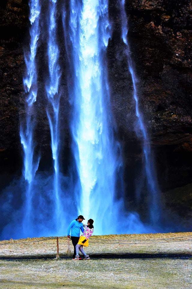 Romantic shot of Seljalandsfoss waterfall in Iceland