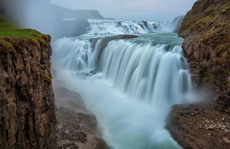 The waterfall Gullfoss is extremely powerful, and its roaring can be heard miles away when travelling the Golden Circle route of South Iceland.