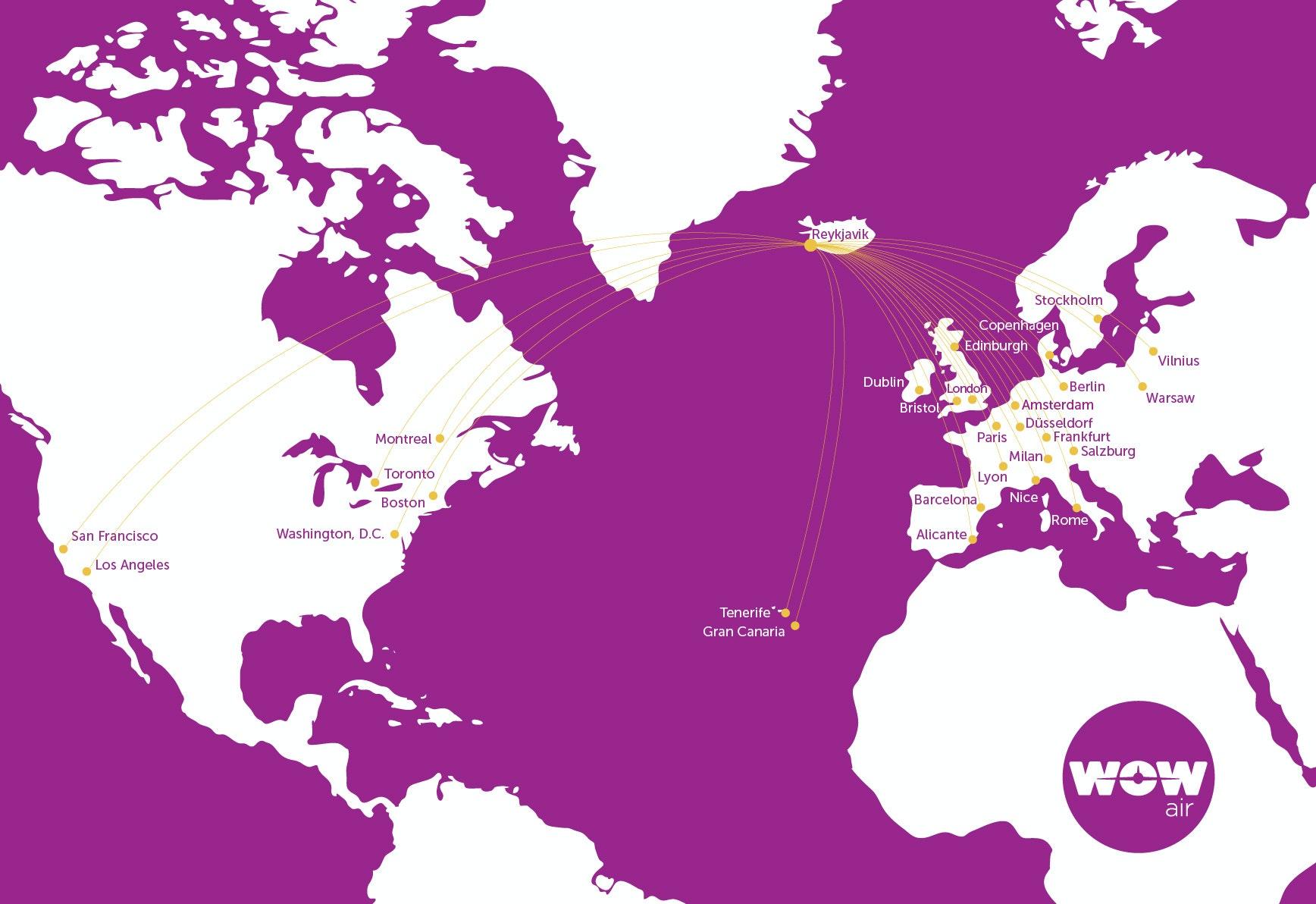 冰岛廉价航空WOW air航线图