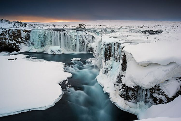 Between Akureyri and Mývatn is a spectacular waterfall, Goðafoss, captured here in winter.