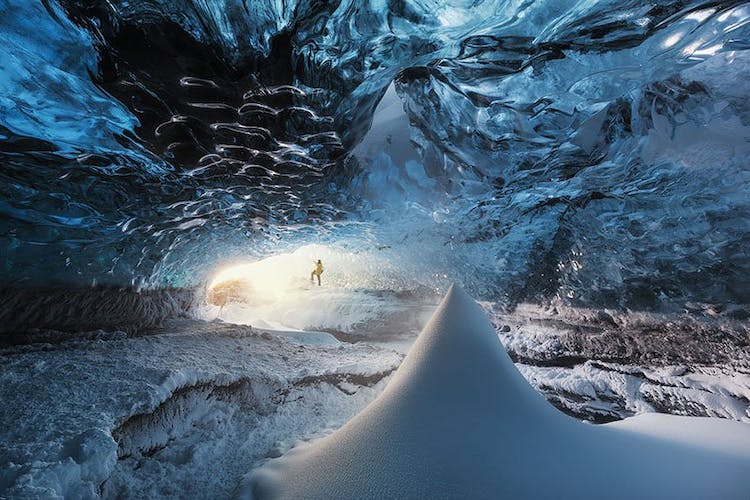 The blue ice cave of Vatnajökull in Iceland is different each year since it is naturally formed.
