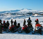 Mýrdalsjökull Glacier is open, white and authentically Icelandic, the perfect spot for snowmobiling.