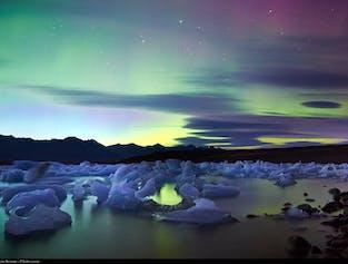 Guided South Coast Minibus Tour to Jokulsarlon Glacier Lagoon   Boat Ride or Northern Lights