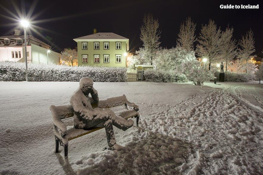 Snowy scenes by Reykjavík City Pond in December