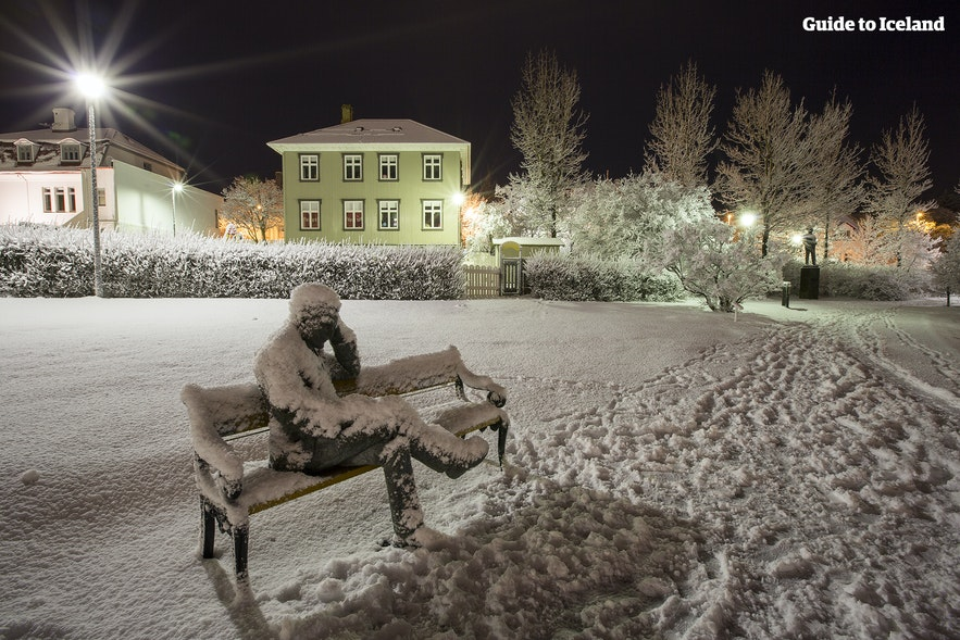 Reykjavik sous la neige au mois de décembre