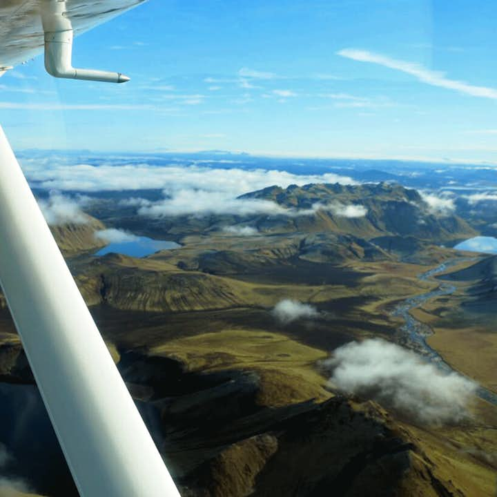 Flightseeing over Landmannalaugar is the only true way to understand the region's wild expanse.