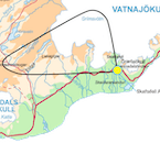 The route of this airplane tour goes from Skaftafell to Lakagígar and Grímsvötn.