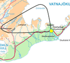 The route of this airplane tour goes from Skaftafell to Lakagígar and ​Grímsvötn.